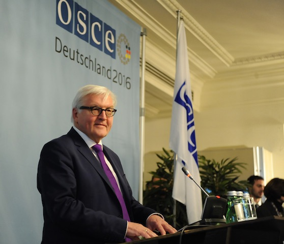 The OSCE plays a crucial role in attempts to defuse tensions between Russia and the West following Ukraine's Maidan revolution. Above is Frank-Walter Steinmeier, foreign minister of Germany, the OSCE Chair in 2016. The tank (right) contains toxic chemicals, the disposal of which is overseen by the OSCE's Mélange Programme. ©OSCE