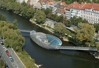 The shell-shaped Murinsel is the most visible legacy of Graz's stint as Europe's 2003 cultural capital. (Photo: murinselgraz.at)