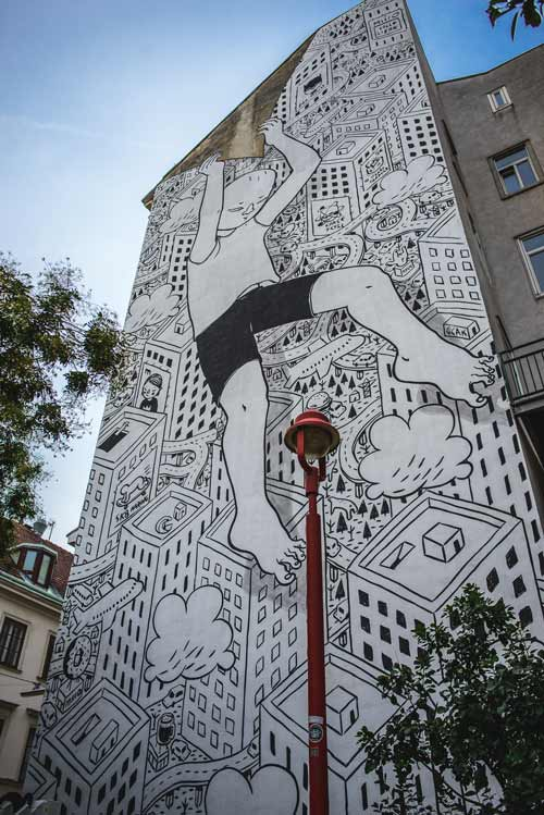 Huge murals like this piece created by the artist Millo last year at Andreaspark in the 7th district are only possible with boom lifts and many volunteers.Photo: ©calle-libre/ max splicke liss