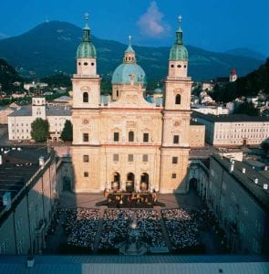 The majestic Salzburg cathedral is the scenic backdrop for the seminal play Jedermann.Photo ©2016 Tourismus Salzburg GmbH