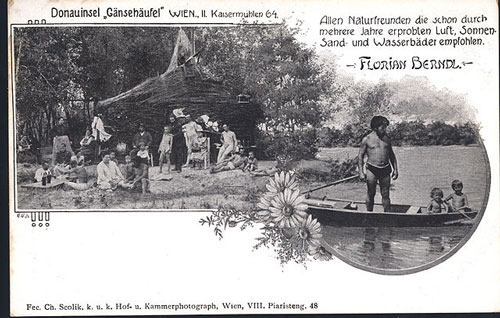 "Florian Berndl (standing in boat) founded the ""New Brazil"" nudist colony near Gänsehäufel"