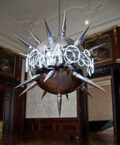 The giant Nomos Basileus morning star was created entirely in the workshop of the artists Toshain and Makowsky. It is intended to hang in unlikely places, like here in the Winterpalais of the Belvedere. Photo ©IV Toshain